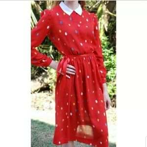 Beege JW Red Dress Multicolor Polka Dots Womens 6